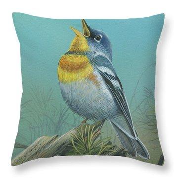 Northern Parula  Throw Pillow