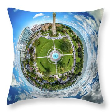Throw Pillow featuring the photograph Northpoint Water Tower Little Planet by Randy Scherkenbach