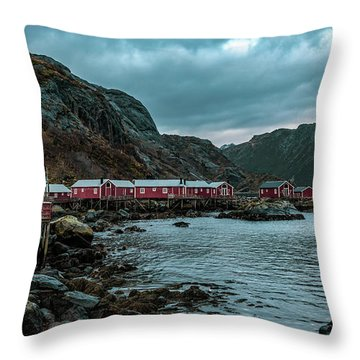 Norway Panoramic View Of Lofoten Islands In Norway With Sunset Scenic Throw Pillow