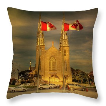 Throw Pillow featuring the photograph Notre Dame Basilica by Juan Contreras