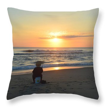 Throw Pillow featuring the photograph November 3, 2018 Fisherman by Barbara Ann Bell