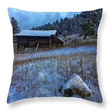 Throw Pillow featuring the photograph November Cabin by Dan Miller
