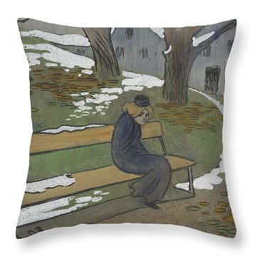Throw Pillow featuring the drawing November by Ivar Arosenius