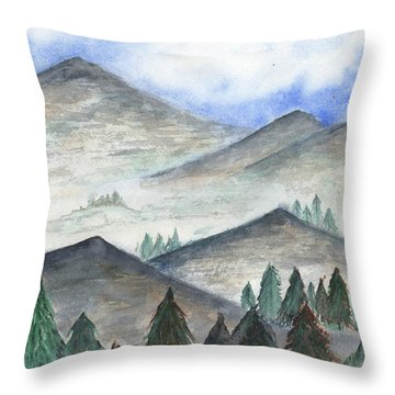 Throw Pillow featuring the painting November Mountains by Betsy Hackett