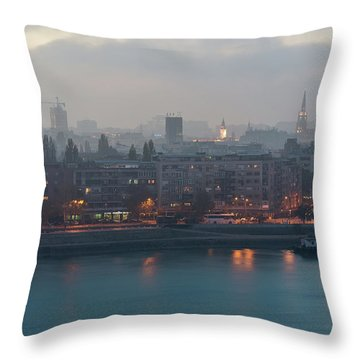 Novi Sad Night Cityscape Throw Pillow