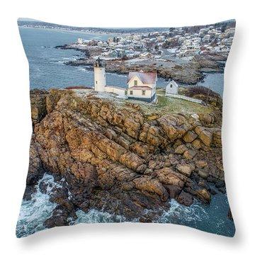 Nubble Light Winter Throw Pillow