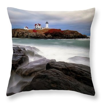 Throw Pillow featuring the photograph  Nubble Lighthouse, York Me. by Michael Hubley