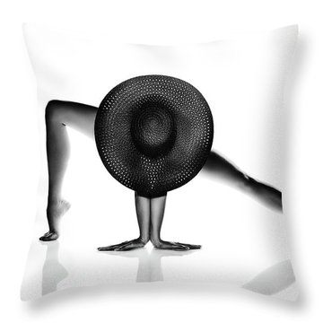 Nude Woman Black Hat Throw Pillow