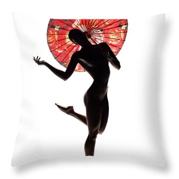 Nude Woman With Red Parasol Throw Pillow