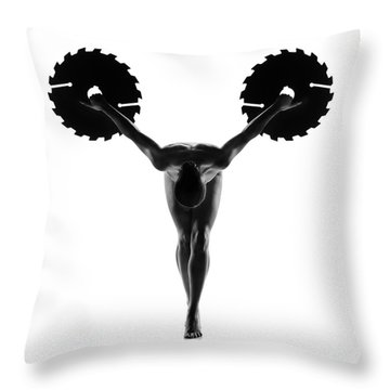 Nude Woman With Saw Blade 5 Throw Pillow