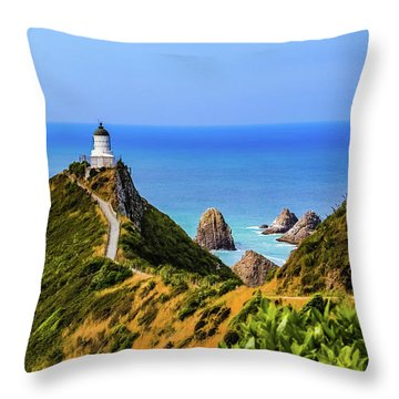 Nugget Point Lighthouse, New Zealand Throw Pillow