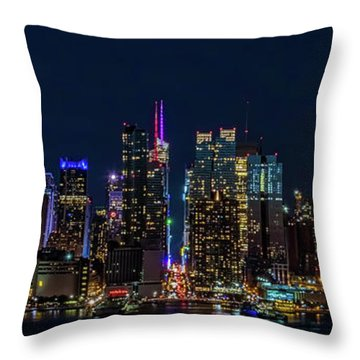 Throw Pillow featuring the photograph Nyc At Night by Francisco Gomez
