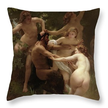 Nymphs And Satyr, 1873 Throw Pillow