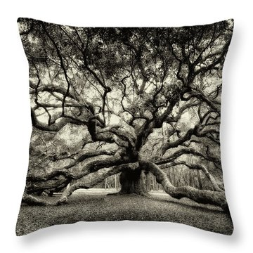 Oak Of The Angels - Sepia Throw Pillow