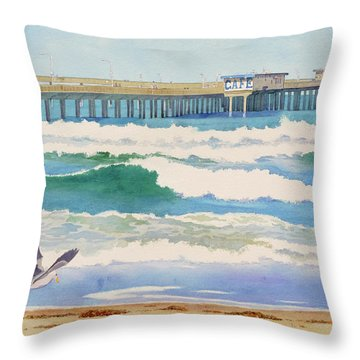 Ocean Beach Pier California Throw Pillow
