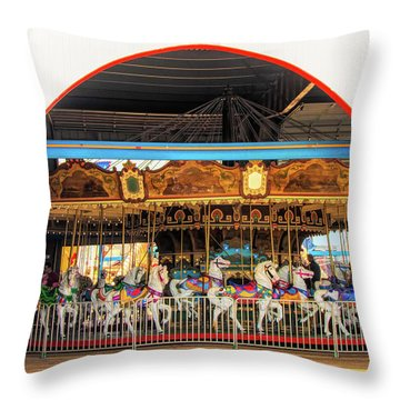 Ocean City Carousel At Wonderland Throw Pillow