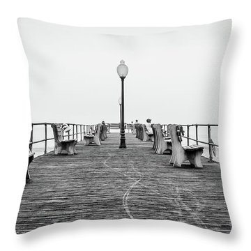 Throw Pillow featuring the photograph Ocean Grove Pier 1 by Steve Stanger