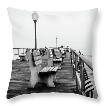 Throw Pillow featuring the photograph Ocean Grove Pier 2 by Steve Stanger
