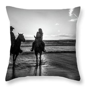 Ocean Sunset On Horseback Throw Pillow