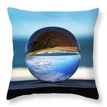 Throw Pillow featuring the photograph Ocean Through The Lens Ball by Lora J Wilson