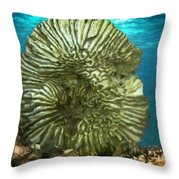 Ocean With Its Life Underground Throw Pillow