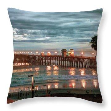 Oceanside Pier At Dusk Throw Pillow