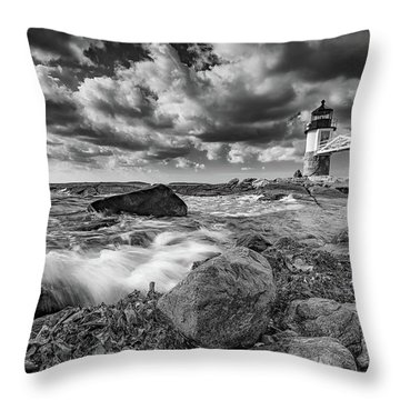 Throw Pillow featuring the photograph October Morning At Marshall Point In Black And White by Rick Berk