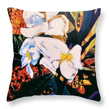 Throw Pillow featuring the painting Odd Shape Flowers by Ray Khalife
