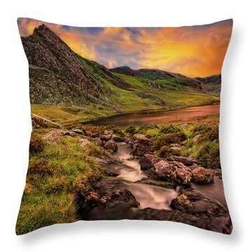 Ogwen Lake And Tryfan Snowdonia  Throw Pillow