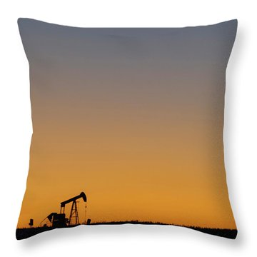 Throw Pillow featuring the photograph Oil Pump After Sunset 02 by Rob Graham
