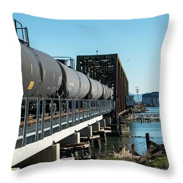 Oil Train Over Swinomish Channel Throw Pillow