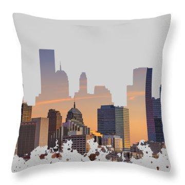 Okc Skyline Sunset Silhouette Throw Pillow