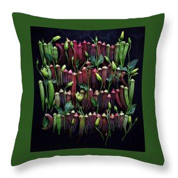 Okra Colors Throw Pillow