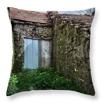 Old Abandoned House In Bainte Throw Pillow