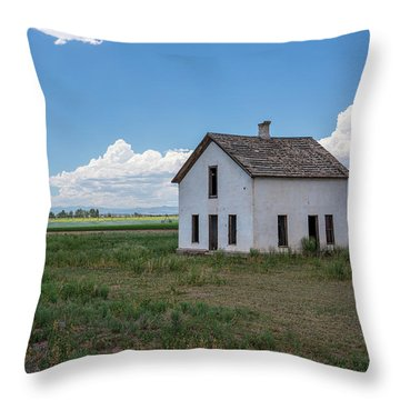 Old Abandoned House In Farming Area Throw Pillow