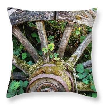 Old Abandoned Wagon Throw Pillow