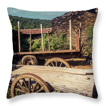 Old Abandoned Wagons Throw Pillow