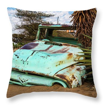 Old And Abandoned Car 2 In Solitaire, Namibia Throw Pillow