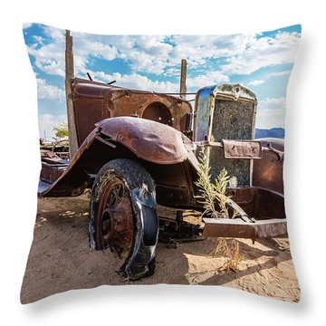 Old And Abandoned Car 3 In Solitaire, Namibia Throw Pillow
