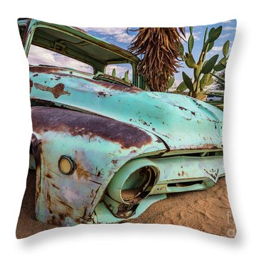 Old And Abandoned Car 7 In Solitaire, Namibia Throw Pillow
