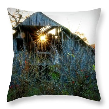 Old Barn At Sunset Throw Pillow
