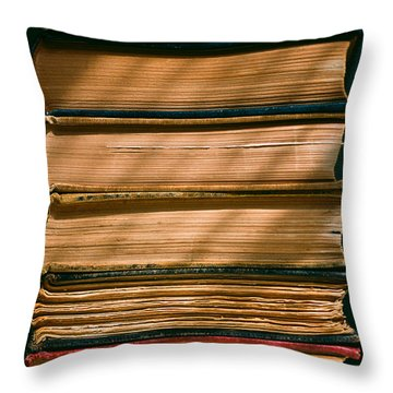 Throw Pillow featuring the photograph Old Books by Carl Young