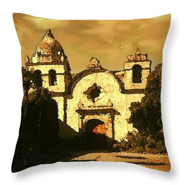 Old Carmel Mission - Watercolor Painting Throw Pillow