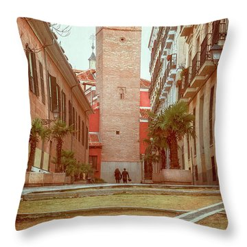 Old Church In Madrid Spain Throw Pillow