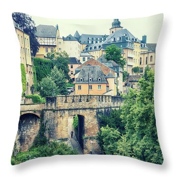 old city Luxembourg from above Throw Pillow