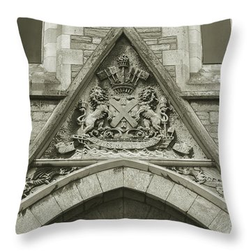 Throw Pillow featuring the photograph Old Coat Of Arms On Plymouth Guildhall by Jacek Wojnarowski
