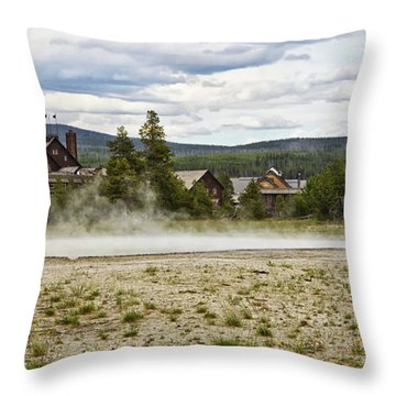 Throw Pillow featuring the photograph Old Faithful Inn Hotel In The Yellowstone National Park by Tatiana Travelways