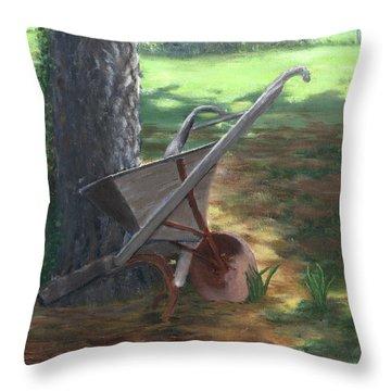 Old Farm Seeder, Louisiana Throw Pillow