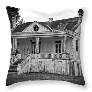Old House Black And White Throw Pillow