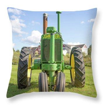 Old John Deere Vintage Tractor Stowe Vermont Throw Pillow